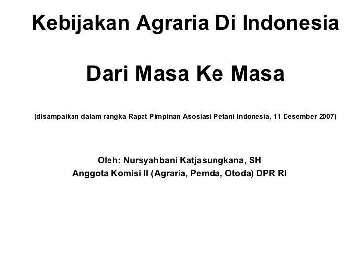 Kebijakan Agraria Indonesia