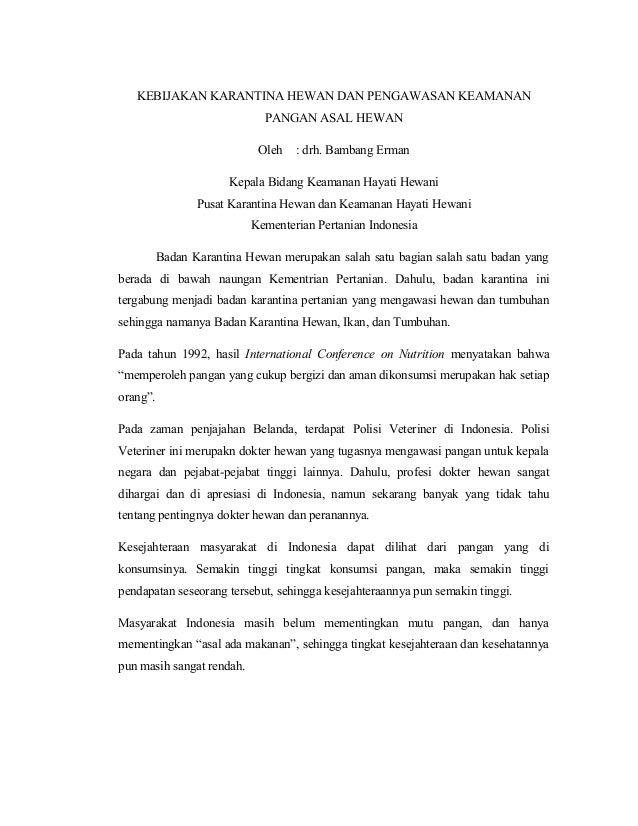 KEBIJAKAN KARANTINA HEWAN DAN PENGAWASAN KEAMANANPANGAN ASAL HEWANOleh : drh. Bambang ErmanKepala Bidang Keamanan Hayati H...