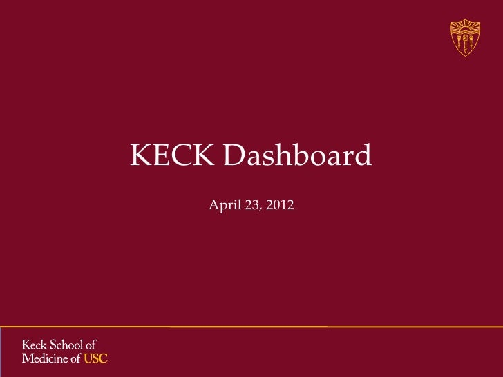 USC KECK Medical School's Plans for a New Dashboard/Portal