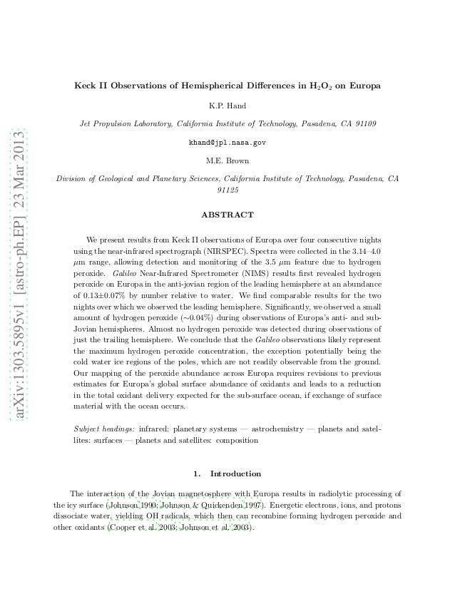 Keck II Observations of Hemispherical Differences in H2 O2 on Europa                                                       ...