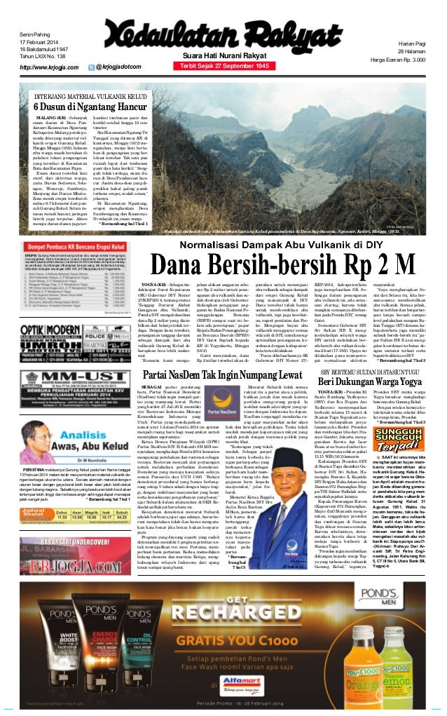 Senin Pahing 17 Februari 2014 16 Bakdamulud 1947 Tahun LXIX No. 138  http://www.krjogja.com  Harian Pagi 28 Halaman  Suara...