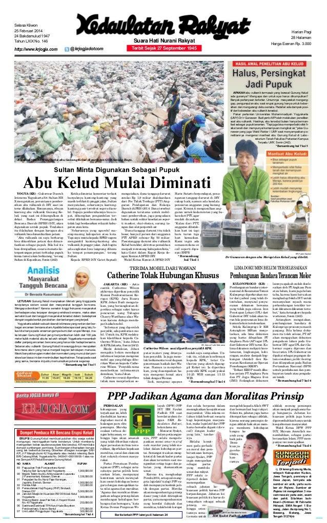 Selasa Kliwon 25 Februari 2014 24 Bakdamulud 1947 Tahun LXIX No. 146  http://www.krjogja.com  Harian Pagi 28 Halaman  Suar...