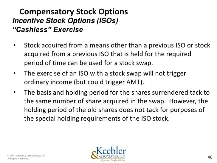 Cashless exercise stock options example