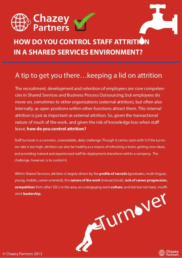 HOW DO YOU CONTROL STAFF ATTRITION IN A SHARED SERVICES ENVIRONMENT? A tip to get you there…keeping a lid on attrition The...