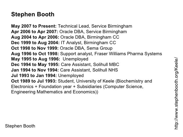 Stephen Booth http://www.stephenbooth.org/Keele/ Stephen Booth May 2007 to Present:  Technical Lead, Service Birmingham Ap...