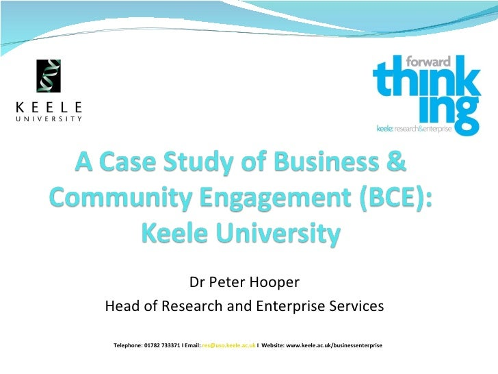 Dr Peter Hooper Head of Research and Enterprise Services Telephone: 01782 733371 I Email:  [email_address]   I  Website: w...