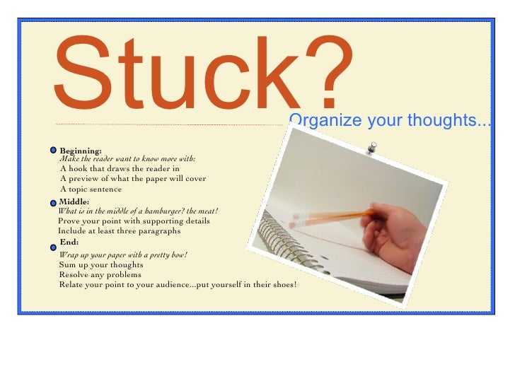 Stuck? Organize your thoughts... Beginning: Make the reader want to know more with: A hook that draws the reader in A prev...