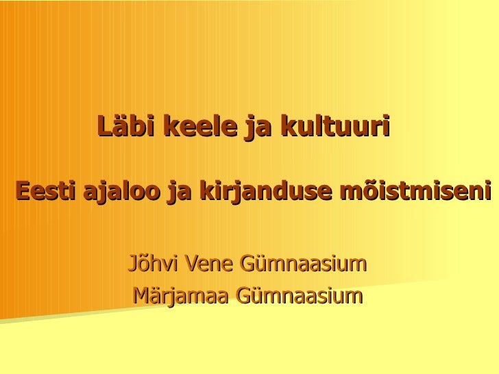 Keel Ja Kultuur