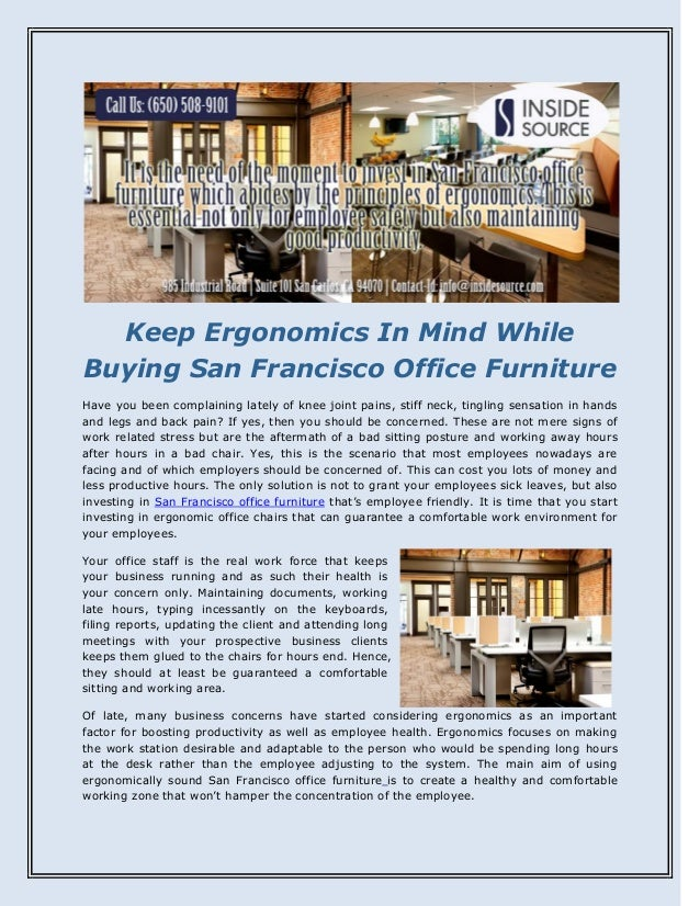 Keep Ergonomics In Mind While Buying San Francisco Office