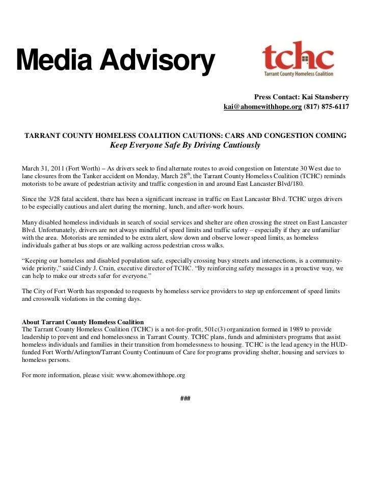 Media Advisory                                                                                   Press Contact: Kai Stansb...