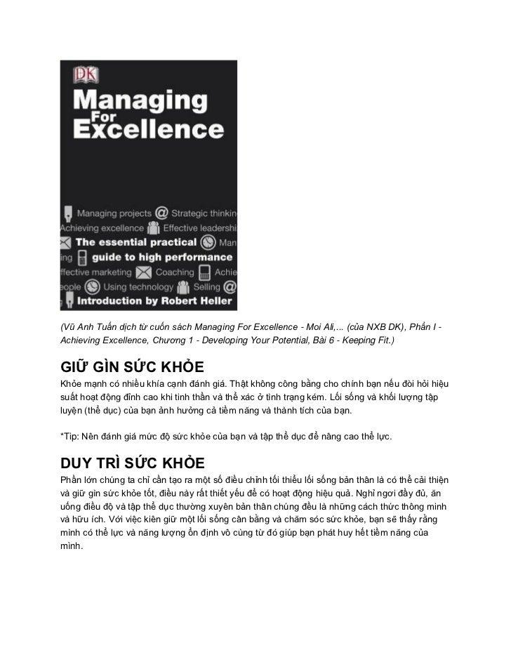 (Vũ Anh Tuấn dịch từ cuốn sách Managing For Excellence - Moi Ali,... (của NXB DK), Phần I -Achieving Excellence, Chương 1 ...