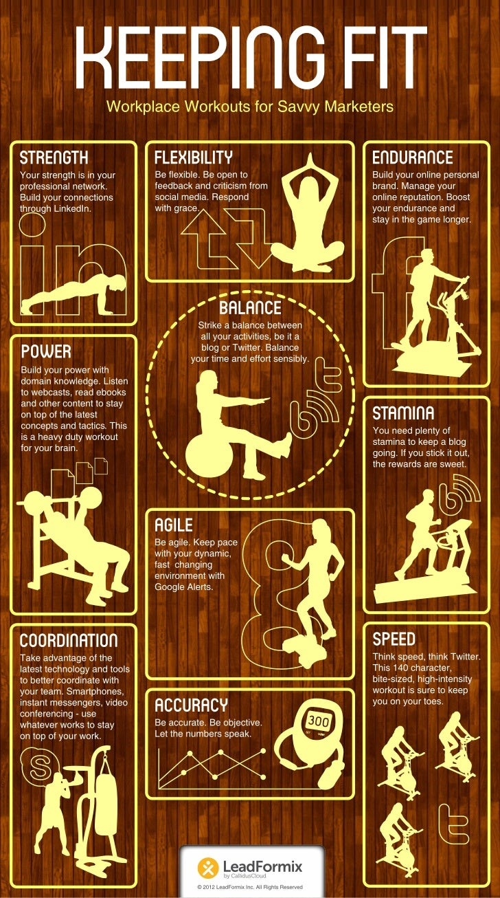 Keeping Fit – Workplace Workouts for Savvy Marketers Infographic