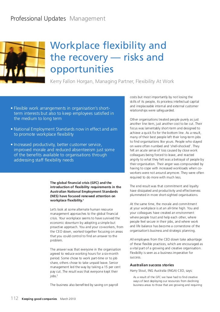 Workplace Flexibility and the Recovery - Risks & Opportunities