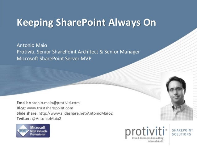 Keeping SharePoint Always On