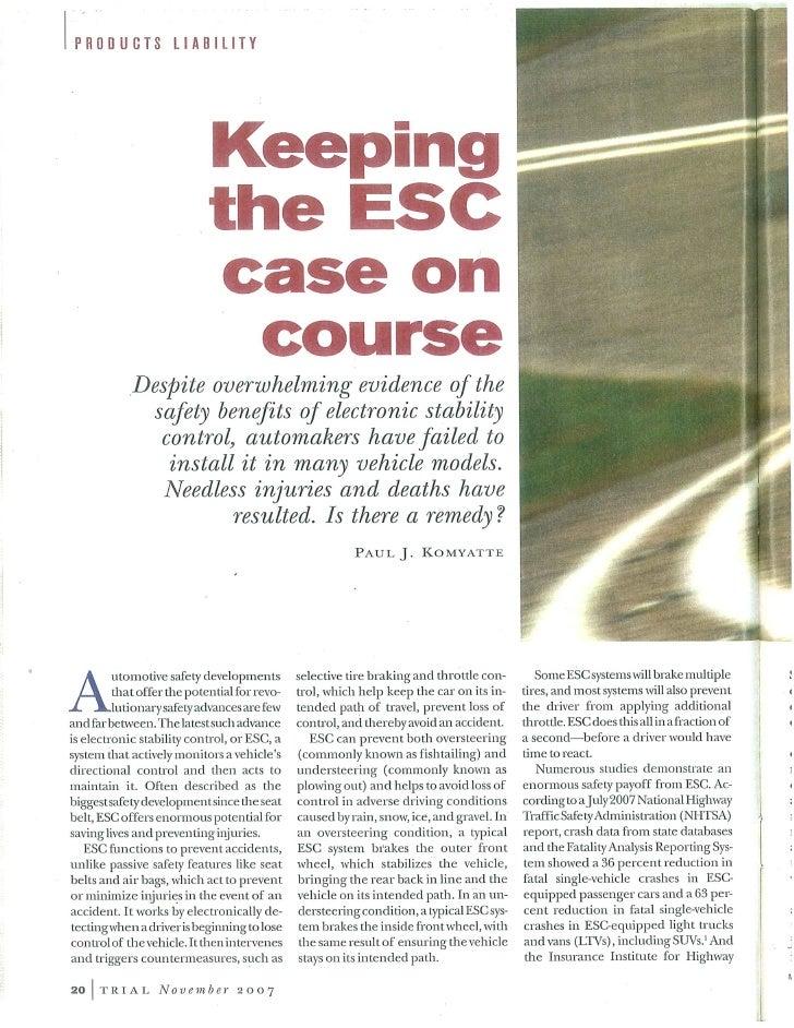 Keeping The Esc Case On Course