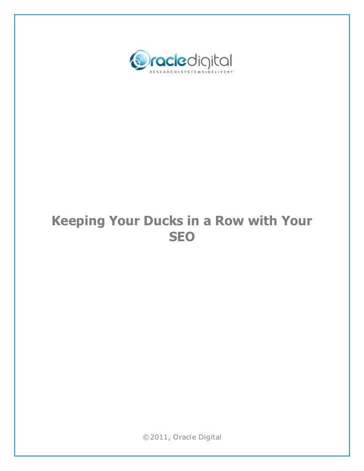 Keeping your ducks in a row with your seo