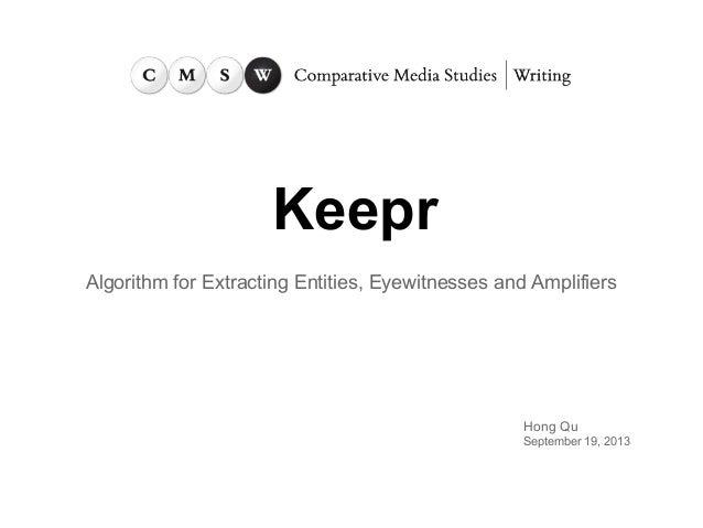 Keepr presentation at MIT CMSW