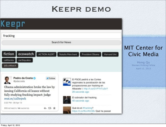 Keepr Demo at MIT Civic Media Lab