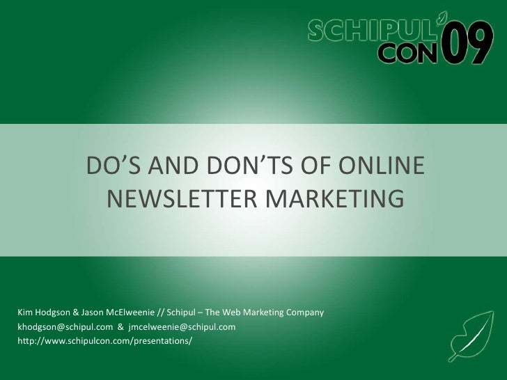 Do's and Don'ts of Online Newsletter Marketing<br />