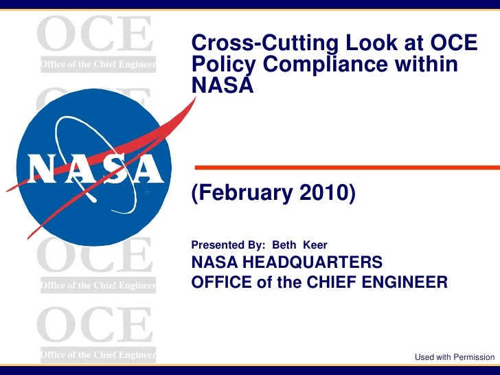 OCEOffice of the Chief Engineer                               Cross-Cutting Look at OCE                               Poli...