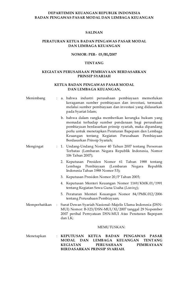 DEPARTEMEN KEUANGAN REPUBLIK INDONESIA    BADAN PENGAWAS PASAR MODAL DAN LEMBAGA KEUANGAN                                S...