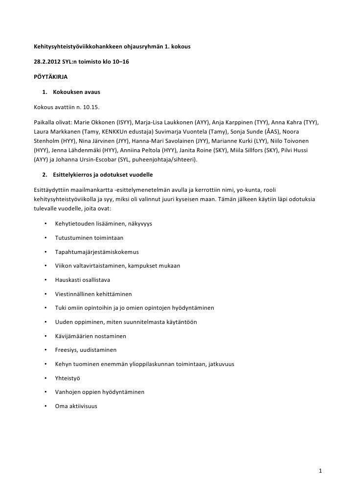 Kehitysyhteistyöviikko2012 ohjausryhmä pöytäkirja_1.kokous _id 402_ (id 760)