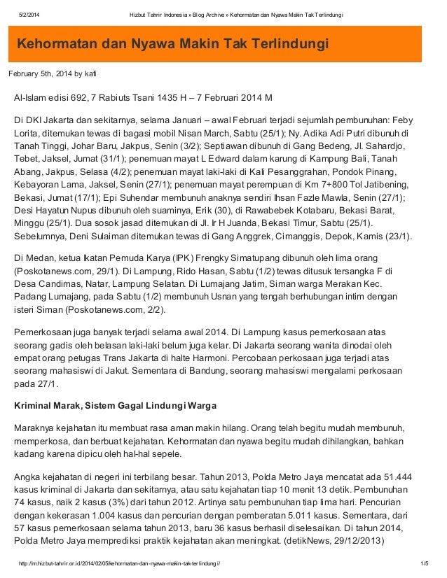 5/2/2014  Hizbut Tahrir Indonesia » Blog Archive » Kehormatan dan Nyawa Makin Tak Terlindungi  Kehormatan dan Nyawa Makin ...