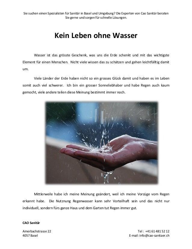 Kein leben ohne wasser