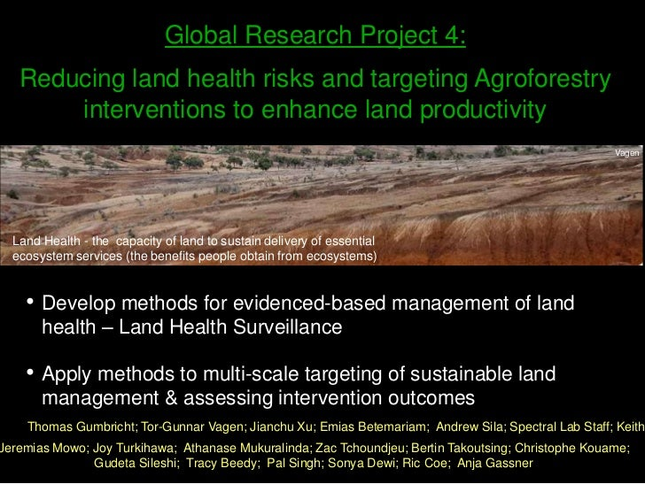 Global Research Project 4:<br />Reducing land health risks and targeting Agroforestry interventions to enhance land produc...