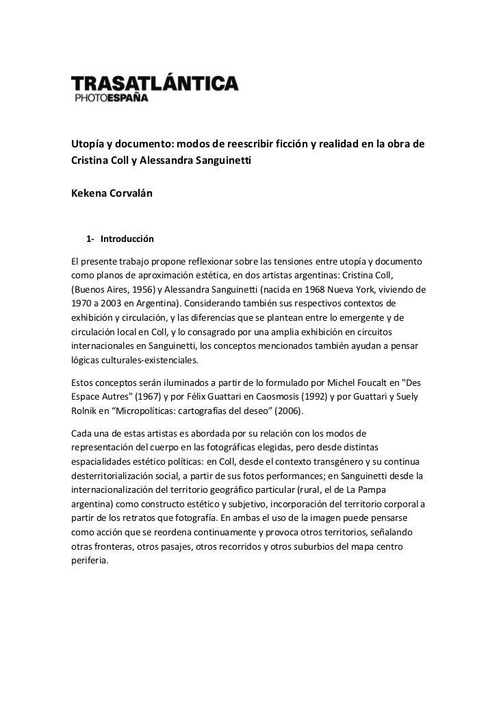 Utopía y documento: modos de reescribir ficción y realidad en la obra de Cristina Coll y Alessandra Sanguinetti