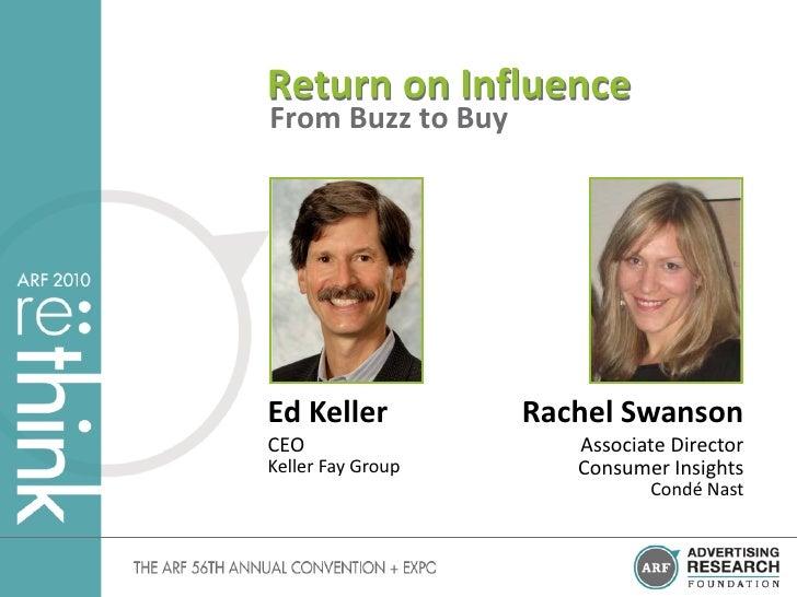 Return on Influence From Buzz to Buy     Ed Keller          Rachel Swanson CEO                   Associate Director Keller...