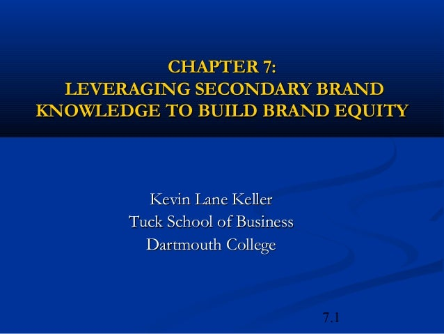 7.1CHAPTER 7:CHAPTER 7:LEVERAGING SECONDARY BRANDLEVERAGING SECONDARY BRANDKNOWLEDGE TO BUILD BRAND EQUITYKNOWLEDGE TO BUI...