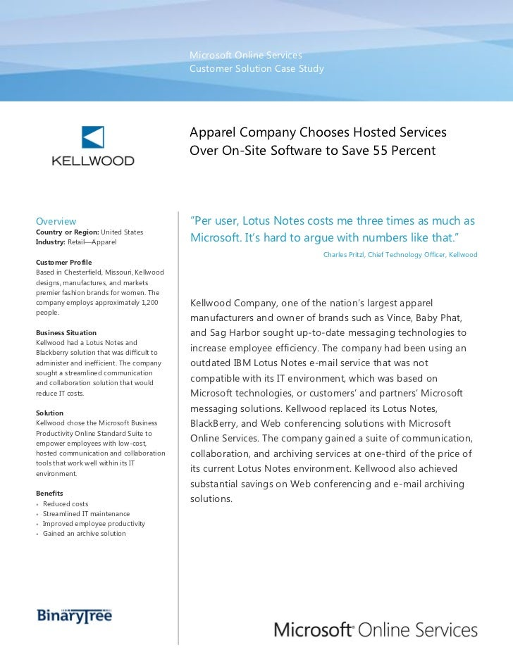 Kellwood Apparel Company Chooses Hosted Services to Save 55 Percent