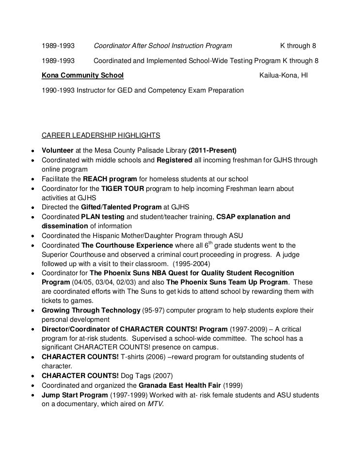 resume for after school program