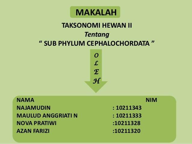 "MAKALAH             TAKSONOMI HEWAN II                   Tentang      "" SUB PHYLUM CEPHALOCHORDATA ""                     O..."