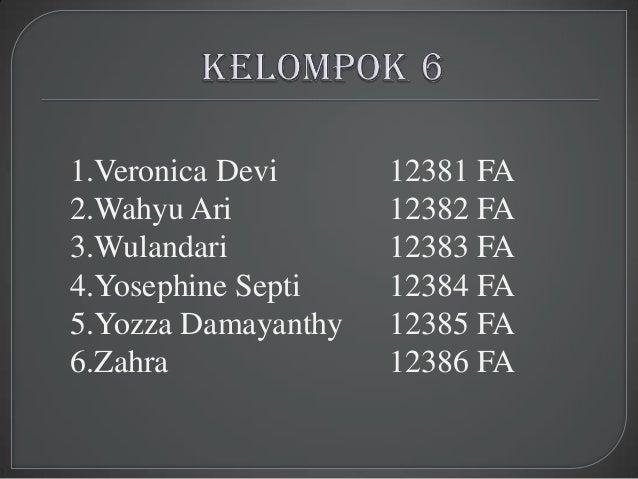 1.Veronica Devi      12381 FA2.Wahyu Ari          12382 FA3.Wulandari          12383 FA4.Yosephine Septi    12384 FA5.Yozz...