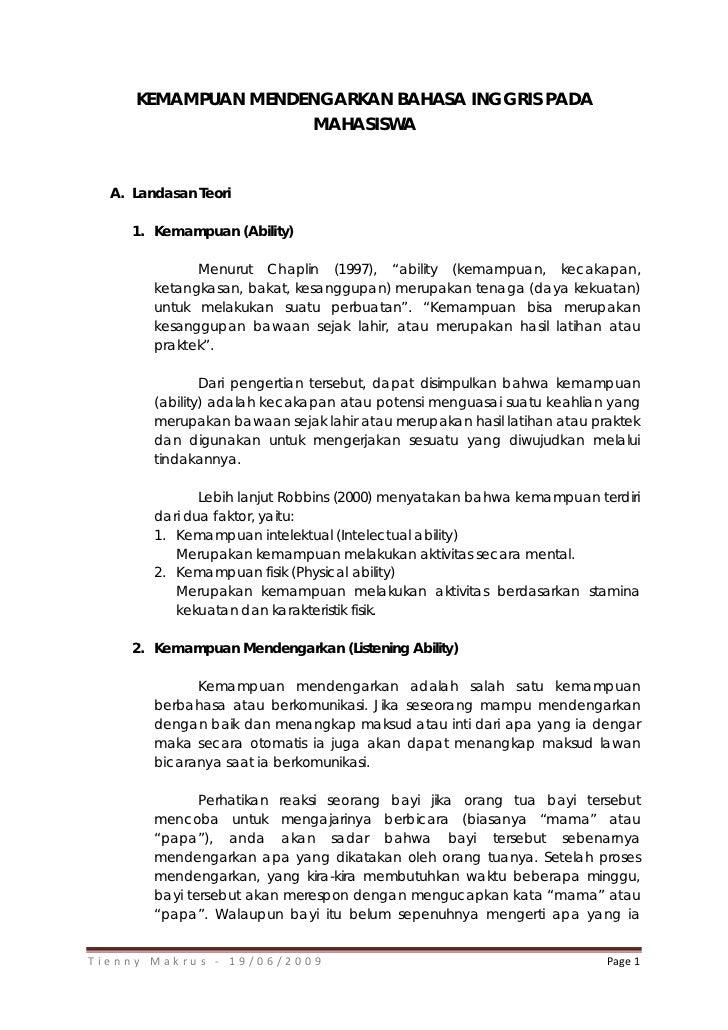 KEMAMPUAN MENDENGARKAN BAHASA INGGRIS PADA                    MAHASISWA  A. Landasan Teori     1. Kemampuan (Ability)     ...