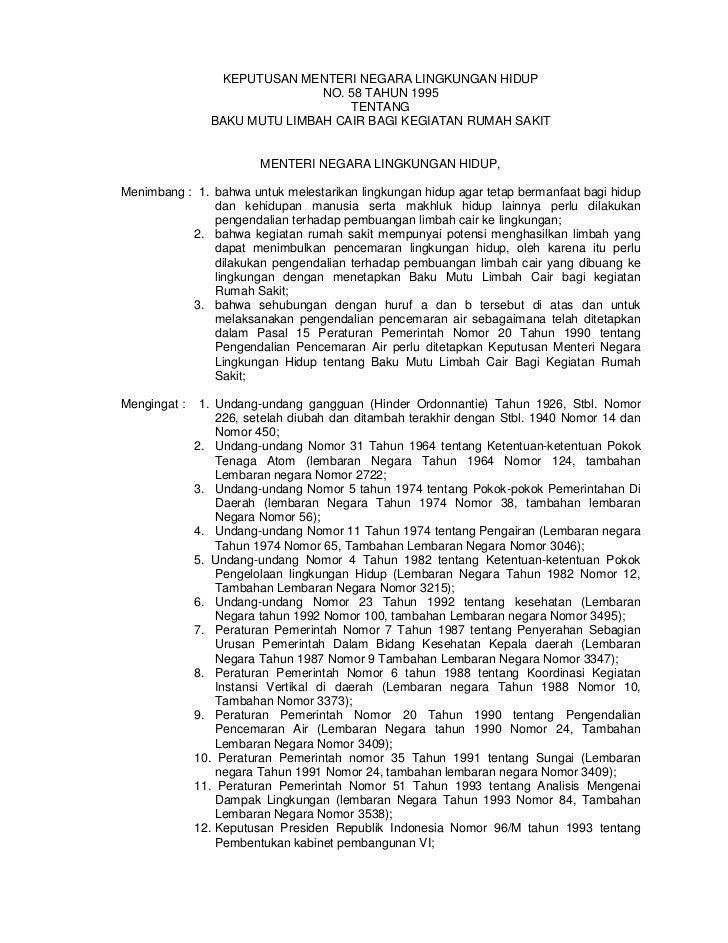Kepmeneg Lingkungan Hidup No.58 Tahun 1995 tentang Baku Mutu Limbah Cair bagi Kegiatan Rumah Sakit