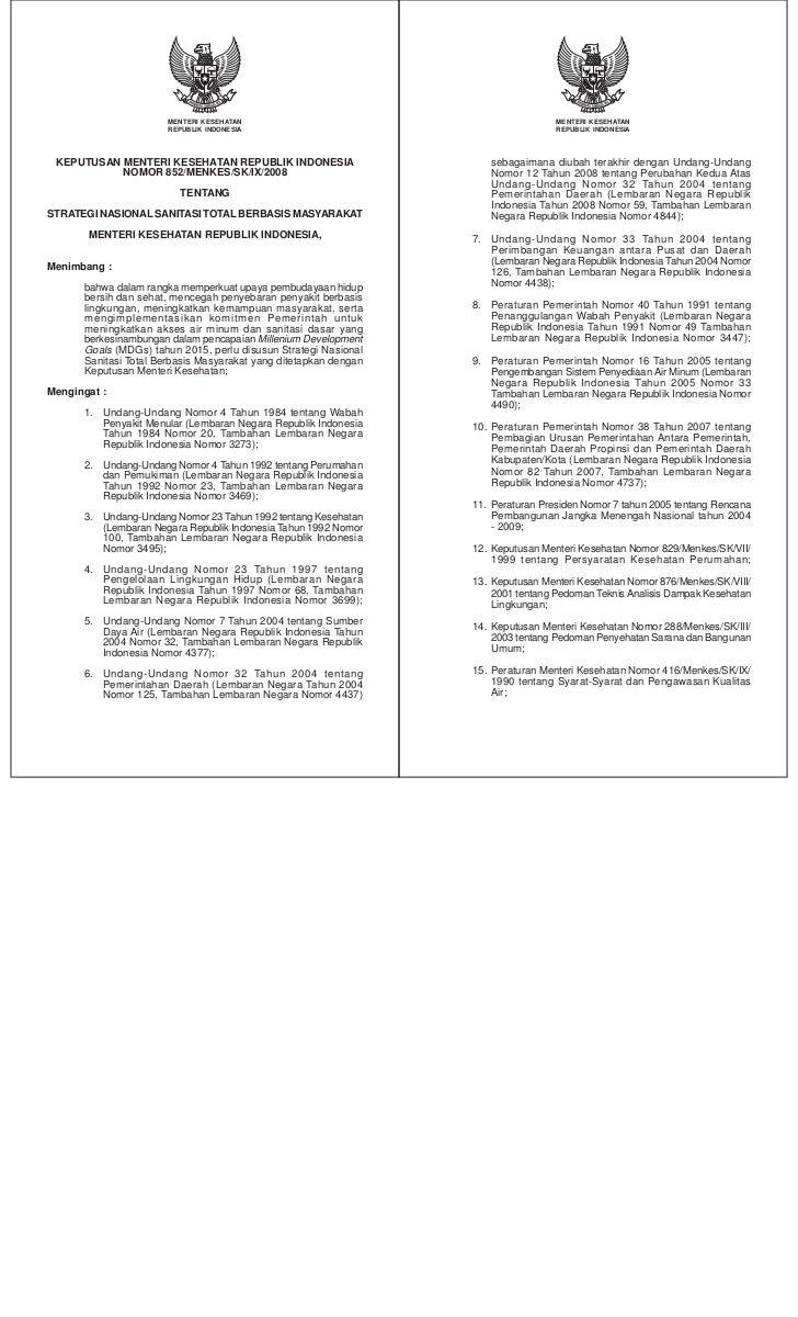 Keputusan Menteri kesehatan Nomor 852/Menkes/SK/IX/2008 tentang Strategi Nasional Sanitasi Total Berbasis Masyarakat (STBM)