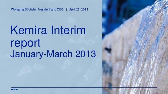 1Kemira InterimreportJanuary-March 2013Wolfgang Büchele, President and CEO | April 23, 2013