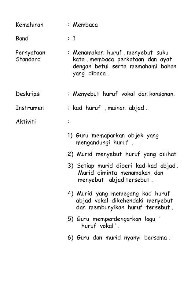 Kemahiran    : MembacaBand         : 1Pernyataan   : Menamakan huruf , menyebut sukuStandard       kata , membaca perkataa...