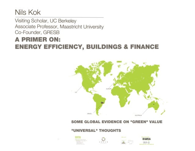 A Primer On: Finance, Sustainability, and Buildings