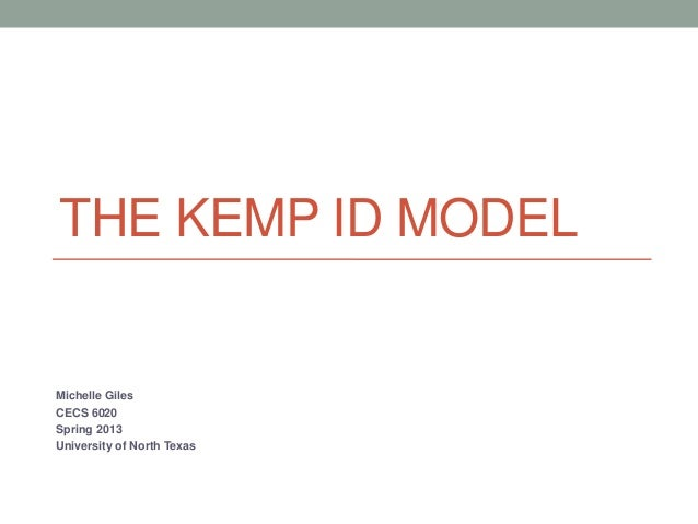 THE KEMP ID MODELMichelle GilesCECS 6020Spring 2013University of North Texas