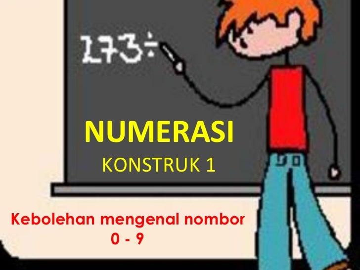 NUMERASI KONSTRUK 1 Kebolehan mengenal nombor 0 - 9