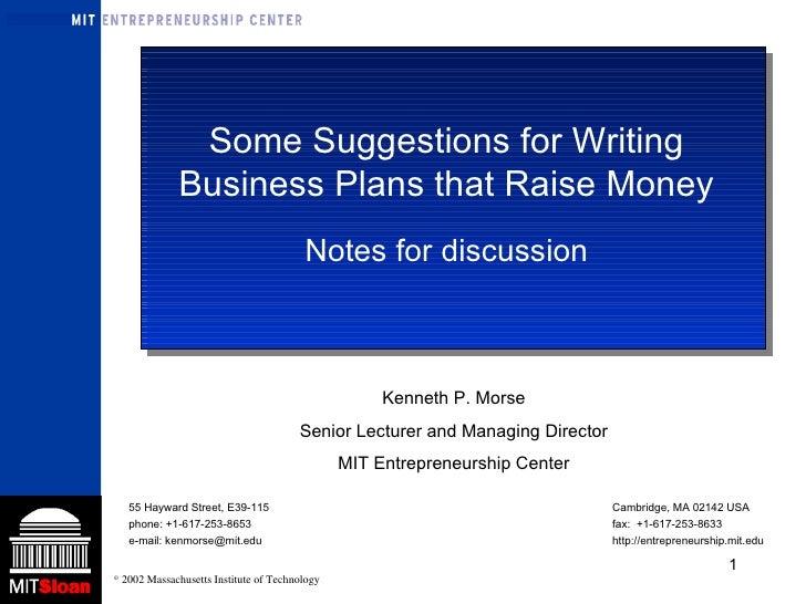 Ken Morse Business plans