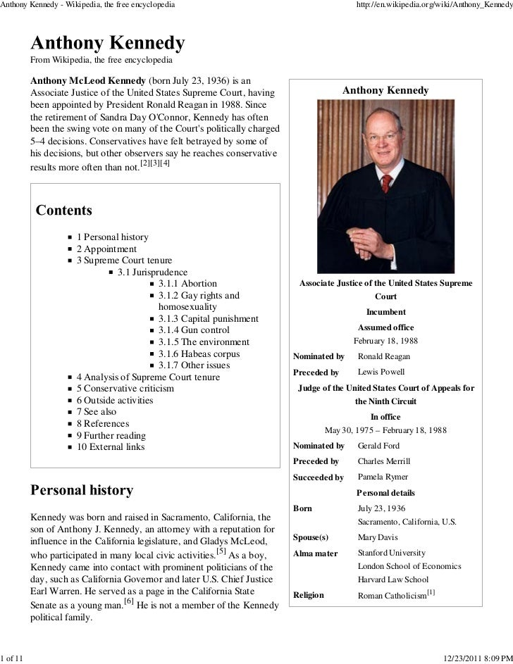JUSTICE ANTHONY KENNEDY (Wikipedia Info)