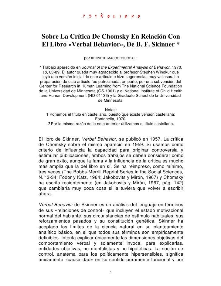 Sobre La Crítica De Chomsky En Relación Con  El Libro «Verbal Behavior», De B. F. Skinner *                          por K...