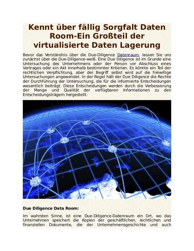 Kennt über fällig Sorgfalt Daten Room-Ein Großteil der virtualisierte Daten Lagerung Bevor das Verständnis über die Due-Di...