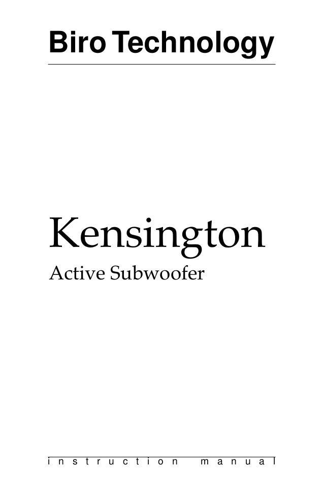 Kensington user manual