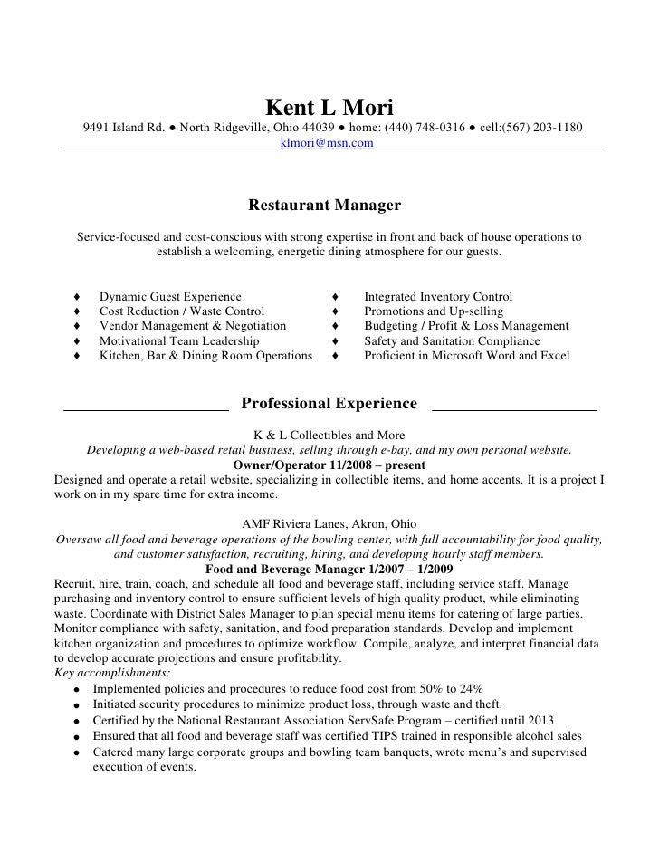 Resume Resume Example Cafe Manager resume cafe manager best sample kent rev12 09 job description general manager